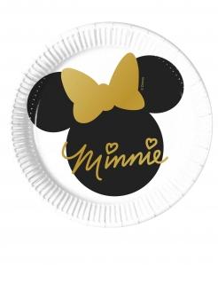 Kleine Minnie Maus™-Pappteller 8 Stück schwarz-weiss-gold 20 cm