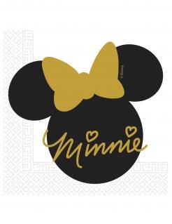 Minnie Maus™ Papierservietten 20 Stück schwarz-gold 33 x 33 cm