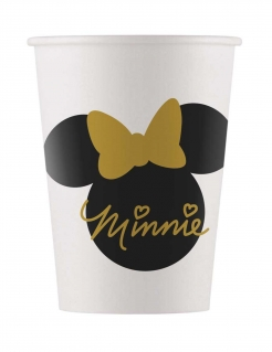 Minnie Gold™ Pappbecher 8 Stück weiss-scharz-gold 160 ml
