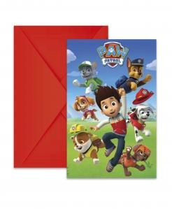 Paw Patrol™-Einladungen für Kinder 6 Stück bunt 14 x 9 cm