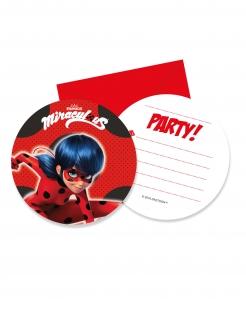 Ladybug™-Einladungskarten mit Briefumschlägen Kindergeburtstag 6 Stück rot-schwarz
