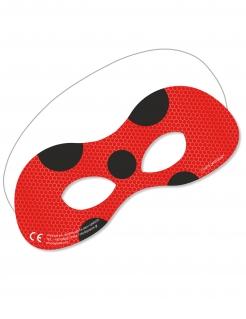 Ladybug™-Augenmaske 6 Stück Papp-Maske rot-schwarz
