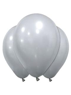 Latex-Luftballons Silvesterdeko 12 Stück silbern 28 cm