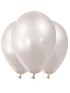 Latex-Luftballons 12 Stück weiss-metallic 28 cm
