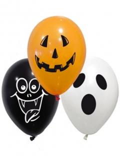 Halloween-Ballons Luftballon-Set mit Grusel-Motiven 10-teilig orange-schwarz-weiss 28cm