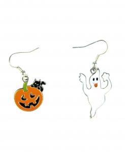 Halloween-Ohrringe Kürbis und Geist Halloween-Schmuck 2 Paar orange-weiss