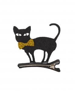 Katzen-Haarklammer Haarspangen für Halloween schwarz-gold 5x5cm