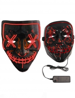 Purge-Maske LED-Maske für Erwachsene schwarz-rot