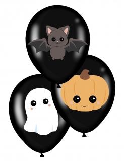 Haloween-Luftballons Kürbis, Geist und Fledermaus Halloween-Deko 6 Stück schwarz-bunt 28 cm