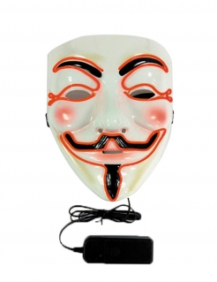 Anonymous LED-Maske Halloween-Maske schwarz-weiss-orange
