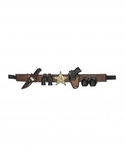 Sheriff-Waffengürtel Karnevalsaccessoire braun-schwarz-gold 90 cm