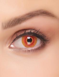 Blutige Augen Farbkontaktlinsen für Erwachsene zu Halloween grün-rot