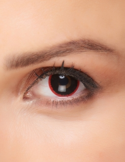 Finstere Fantasy-Kontaktlinsen für Erwachsene schwarz-rot 15 mm