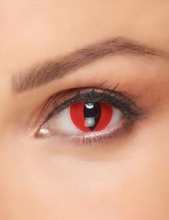 Gruselige Dämonen-Kontaktlinsen für Erwachsene rot-schwarz