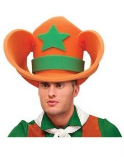 Lustiger Riesen-Cowboyhut für Erwachsene orange-grün