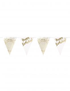 Edle Geburtstagsgirlande Happy Birthday gold-weiss 6m