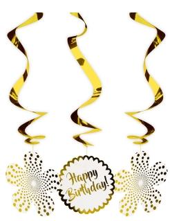 Happy Birthday-Hängespiralen 3 Stück goldfarben