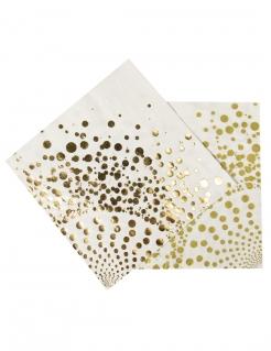 Edle Geburtstags- und Silvester-Servietten 16 Stück gold-weiss 33x33cm