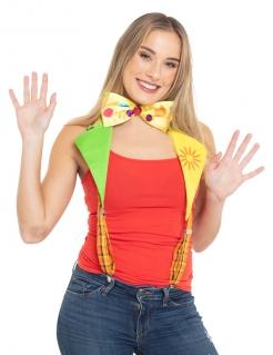 Clowns-Hosenträger mit Fliege für Erwachsene bunt
