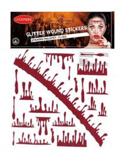 Blutende Glitzer-Wunden Halloween Klebe-Tattoos für Erwachsene rot