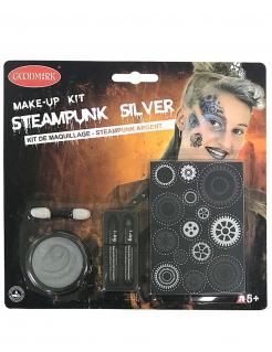 Steampunk Schmink-Set für Erwachsene 5-teilig silberfarben
