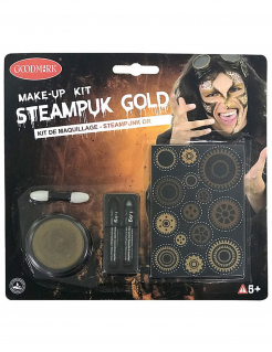 Steampunk Make-up Set für Erwachsene 5-teilig goldfarben-schwarz-grau