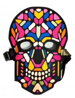 Skelett-Maske mit Licht und Sound Halloween-Maske bunt