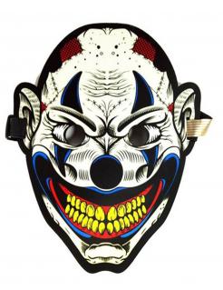 Gruselige Harlekin-Maske für Erwachsene mit Lichtakkustik bunt