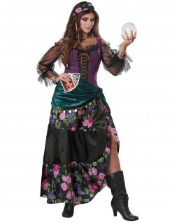Hellseherin-Kostüm für Damen Halloween-Kostüm grün-lila