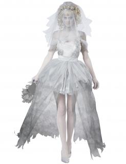 Geister-Braut Kostüm XL Halloween-Kostüm in Übergrösse grau-weiss