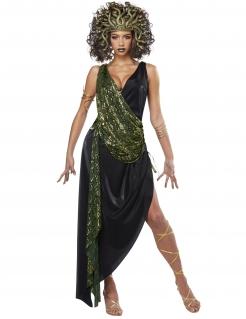 Verführerisches Medusa-Kostüm für Damen Antike-Kostüm schwarz-grün