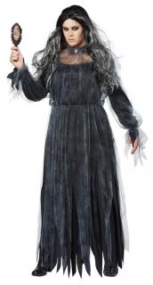 Schreckliche Geisterbraut Damenkostüm für Halloween schwarz-grau