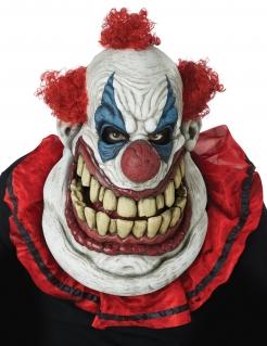 Bewegliche Killerclown-Maske XXL Horror-Maske für Halloween weiss-rot-blau