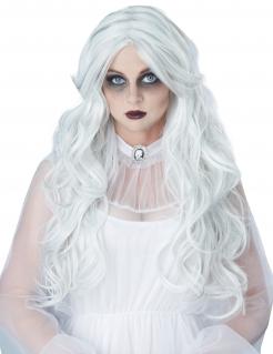 Langhaar-Perücke für Damen gewellt Halloween-Accessoire weiss
