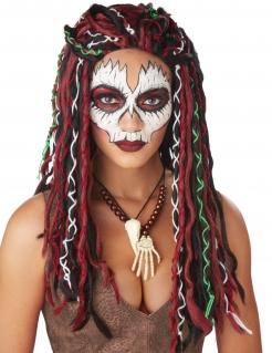 Voodoo-Priesterin-Perücke für Damen Halloween-Perücke bunt