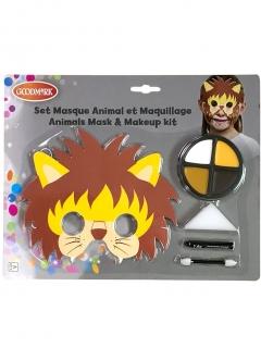 Löwen-Schminkset mit Maske für Kinder 5-teilig bunt