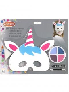 Einhorn-Schminkset mit Maske für Kinder 5-teilig bunt