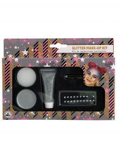 Glitzerndes Make-up-Set mit Strassteinen 5-teilig silberfarben