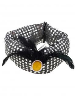 Turban mit Pailletten und Federn silber-schwarz