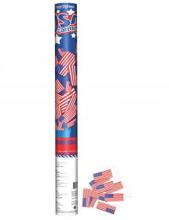 USA-Konfettikanone Partydeko blau-rot 60 cm