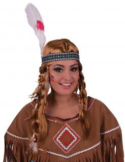 Indianer-Perücke und Kopfband rotblond