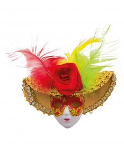 Edle Brosche mit Motiv Venezianische Maske bunt 9cm