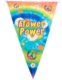 Hippie-Girlande mit Wimpeln Flower Power bunt 5 m