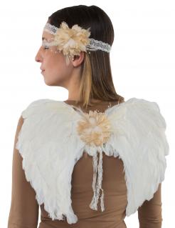 Engel-Set Flügel und Kopfschmuck Accessoire weiss-beige