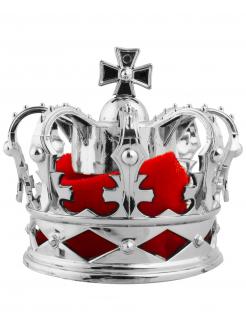 Haarspange mit Mini-Krone Accessoire für Damen silber-rot
