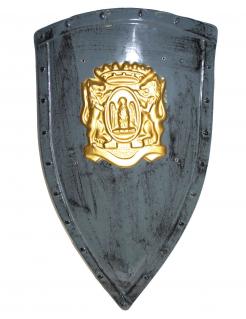Mittelalterliches Ritterschild mit Löwen-Motiv dunkelgrau-gold 75x45cm