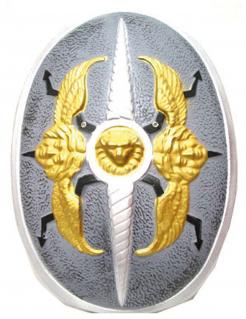 Ritterschild für Kinder Motiv Löwe und Engel silber-grau-gold 60x40cm