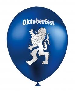 Oktoberfest-Luftballons mit Löwen-Wappen 12 Stück blau