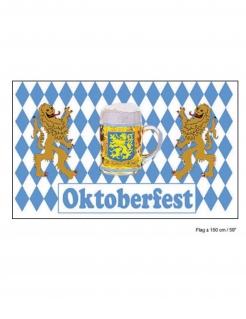 Oktoberfest-Flagge Dekoration blau-weiss 60x90 cm