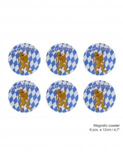 Oktoberfest-Magnete 6 Stück weiß-blau 12 cm